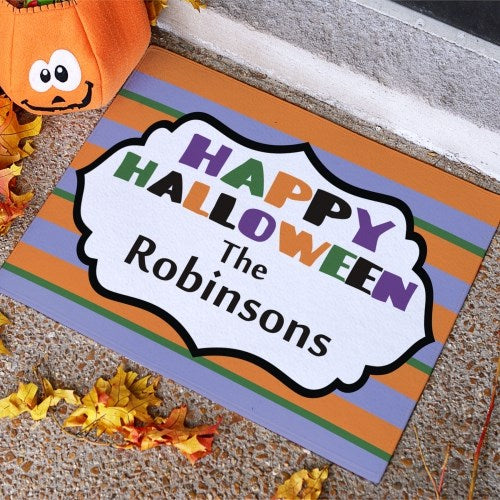 Happy Halloween Stripes Doormat