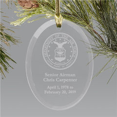 Engraved Air Force Memorial Ornament