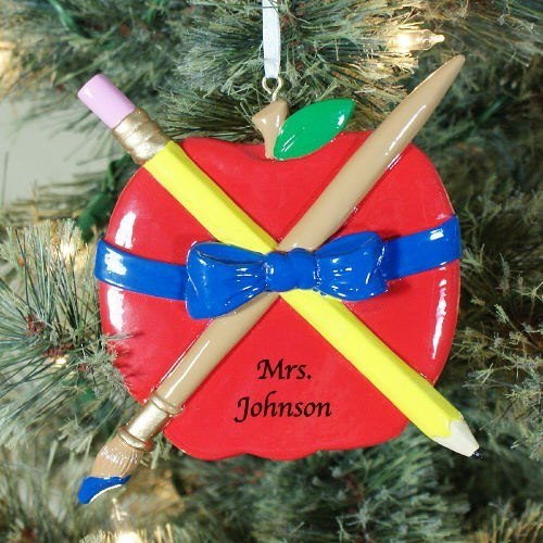 Personalized Teachers Apple Christmas Ornament