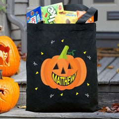 Personalized Smiling Pumpkin Trick or Treat Black Tote Bag