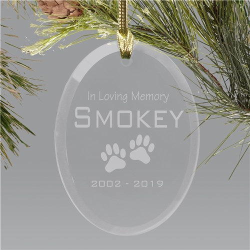 Pet Memorial Glass Holiday Ornament
