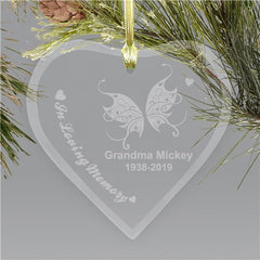 Engraved Heart Memorial Christmas Holiday Ornament