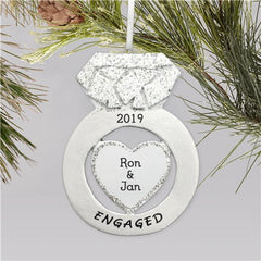 Personalized Engagement Ring Christmas Ornament