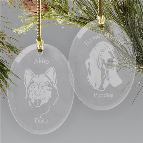 Engraved Dog Breed Glass Holiday Ornament