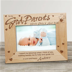 Godparents Personalized Wood Frame