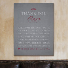 Personalized Thank You Mom Wall Canvas