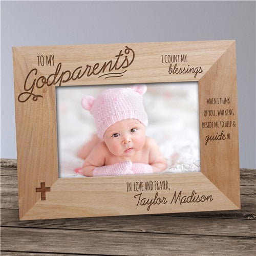 Engraved Godparents Wood Picture Frame