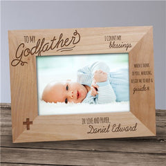 Engraved Godfather Wood Picture Frame