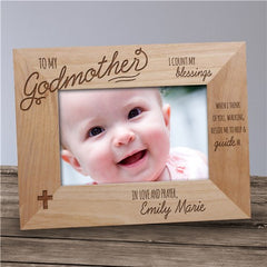 Engraved Godmother Wood Picture Frame