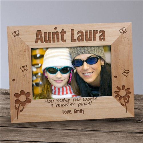 Engraved Aunt Happier Place Wood Picture Frame
