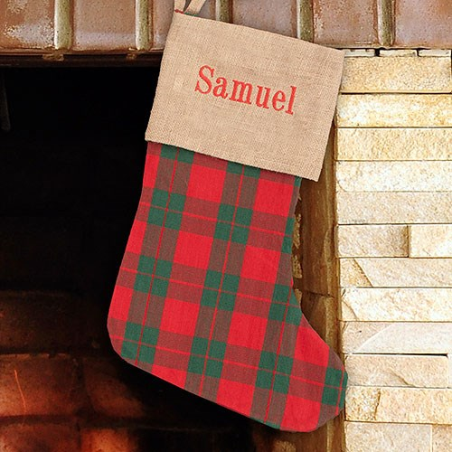 Embroidered Holiday Plaid Stocking