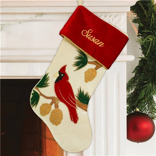 Embroidered Cardinal Stocking