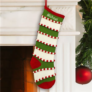 Embroidered Green Striped Stocking