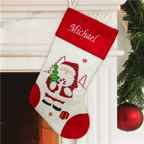 Embroidered Red and White Santa Stocking
