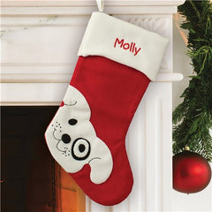 Embroidered Puppy Dog Stocking