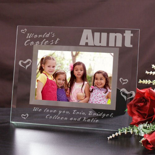 Engraved World's Coolest Aunt Glass Picture Frame