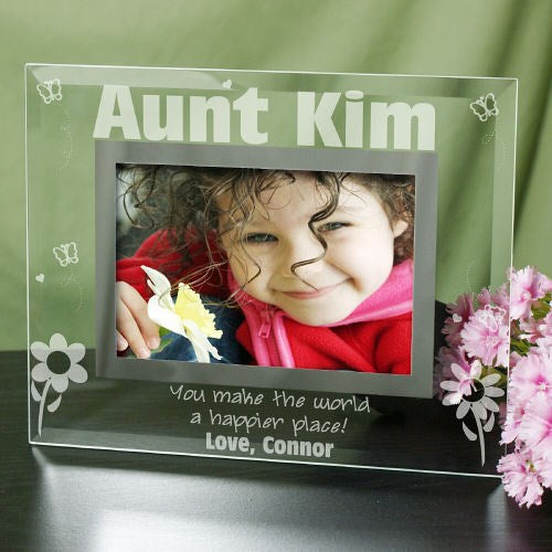Engraved Happier Place Glass Picture Frame