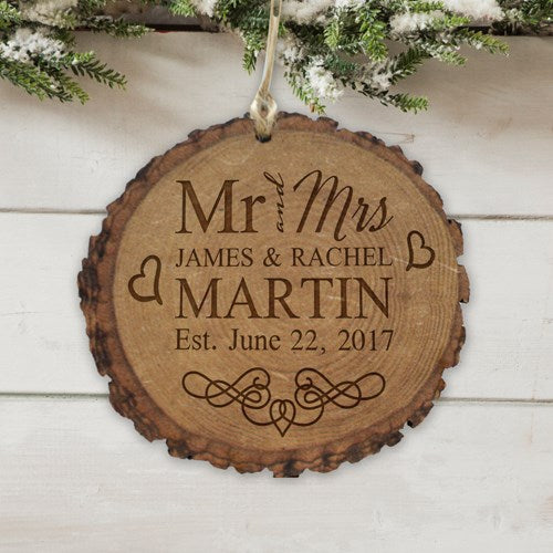 Engraved Married Couple Wood Round Ornament