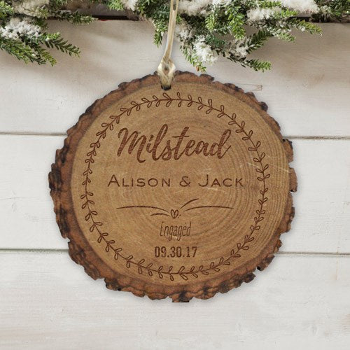 Personalized Engagement Round Rustic Wood Ornament