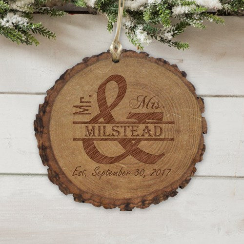 Personalized Married Couple Round Rustic Wood Ornament