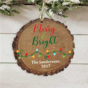 Personalized Merry and Bright Wood Ornament