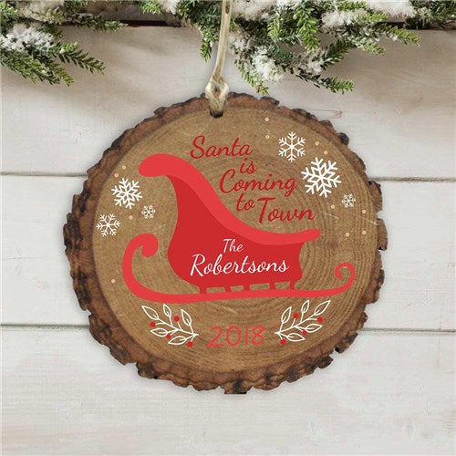 Personalized Santa Is Coming To Town Wood Ornament
