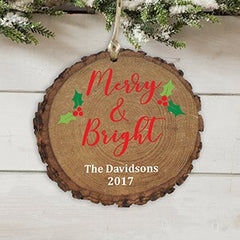 Personalized Merry and Bright Holly Wood Ornament