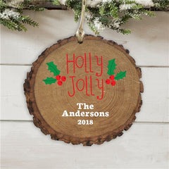 Personalized Holly Jolly Wood Ornament
