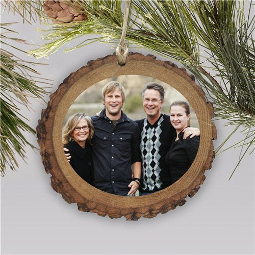 Personalized Photo Wood Round Ornament