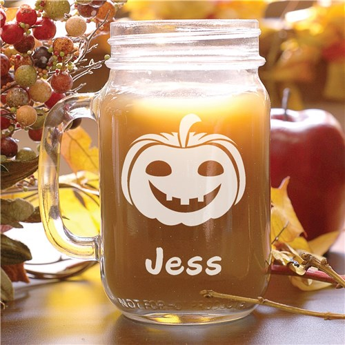 Engraved Halloween Pumpkin Mason Jar
