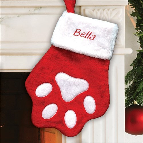 Embroidered Red Paw Christmas Stocking