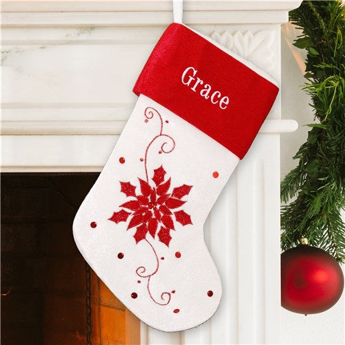 Red and White Poinsettia Christmas Stocking