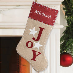Joy Burlap Embroidered Stocking