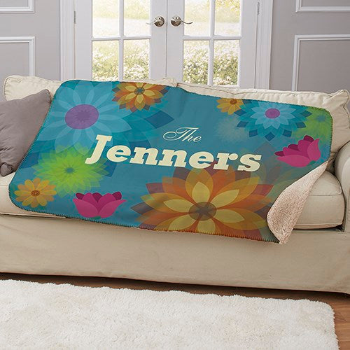 Personalized Spring Floral Sherpa