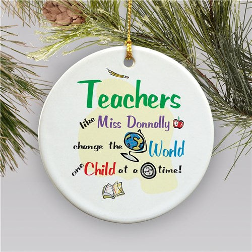 Personalized Teacher Holiday Ornament | Ceramic