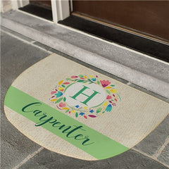 Personalized Colorful Wreath Doormat