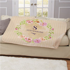 Personalized Floral Spring Sherpa Blanket