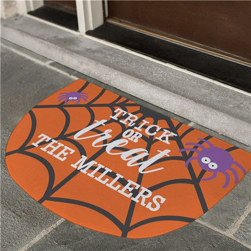 Personalized Trick or Treat Half Moon Doormat