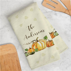 Personalized Fall Pumpkin Dish Towel