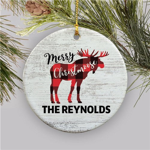 Personalized Merry Christmoose Ceramic Ornament