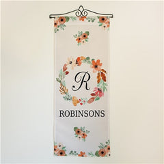 Personalized Watercolor Floral Wreath Wall Hanging