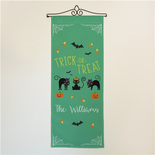 Personalized Trick or Treat Cats Wall Flag
