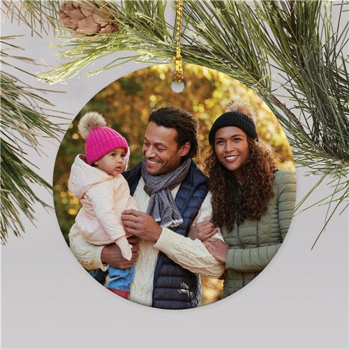 Personalized Circle Photo Christmas Ornament