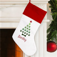 Personalized Paw Tree Christmas Stocking