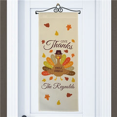 Personalized Give Thanks Turkey With Hat Wall Hanging