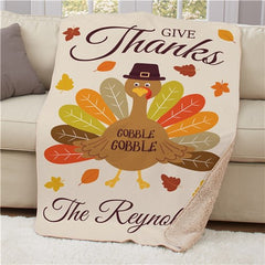 Personalized Give Thanks Turkey With Hat Sherpa Blanket