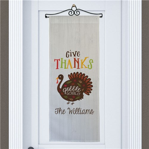 Personalized Give Thanks Gobble Gobble Wall Hanging