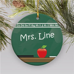 Chalkboard Personalized Ceramic Teacher Holiday Ornament