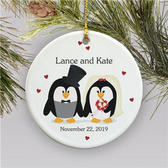 Personalized Penguin Bride and Groom Holiday Ornament
