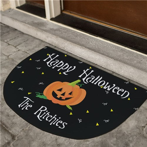 Personalized Happy Halloween Half Moon Doormat